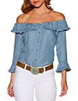 Ruffle Button Up Off-the-shoulder Denim Blouse Photo
