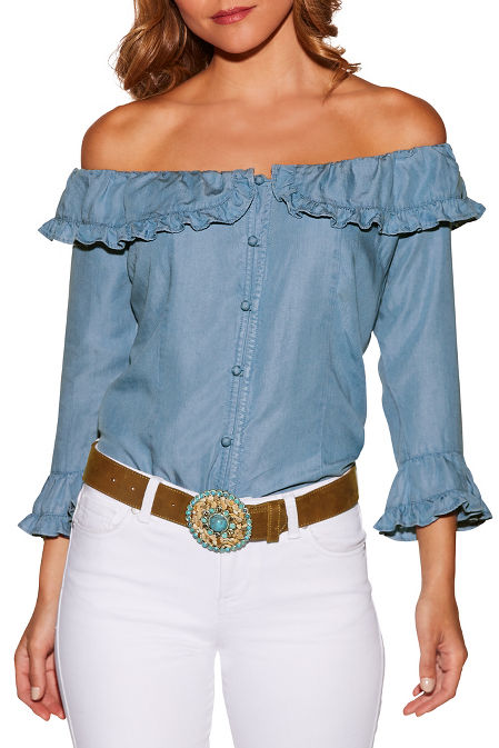 Ruffle button up off-the-shoulder denim blouse image