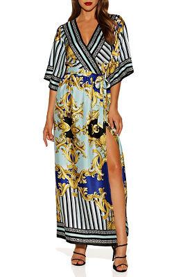 Scroll wrap maxi dress