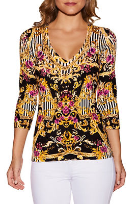 V-neck mixed print sweater