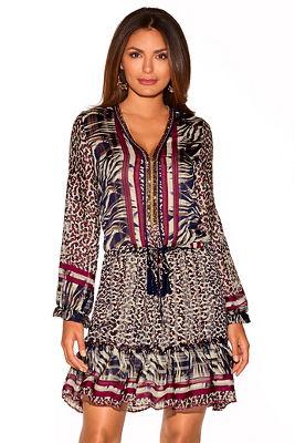 Animal Embellished Ruffle Dress