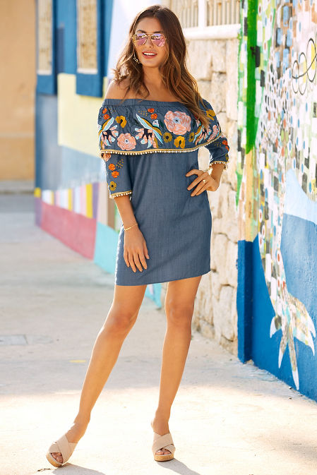 Chambray embroidered off-the-shoulder dress image