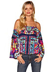 Cold Shoulder Border Print Top Photo