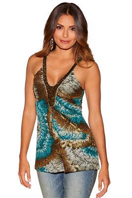 Embellished neckline printed top