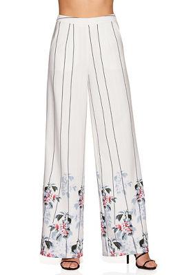 Floral trim stripe wide-leg pant