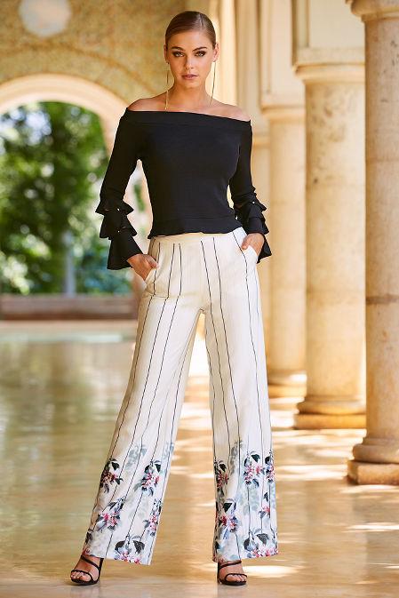 Floral trim stripe wide-leg pant image