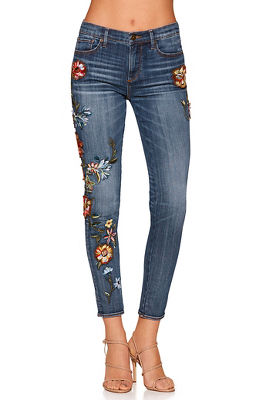 flower embroidered skinny jean