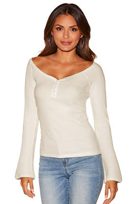 Display product reviews for Flare sleeve ribbed wide neck top