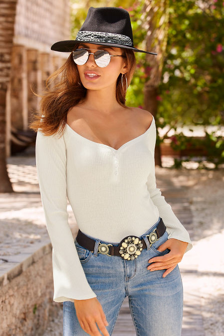 Flare sleeve ribbed wide neck top image