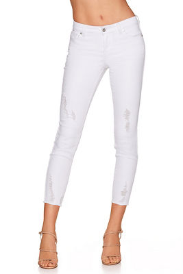 Frayed hem crop jean