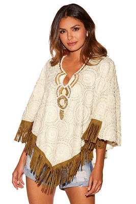 Display product reviews for Fringe and pearl poncho