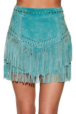 Fringe studded mini skirt