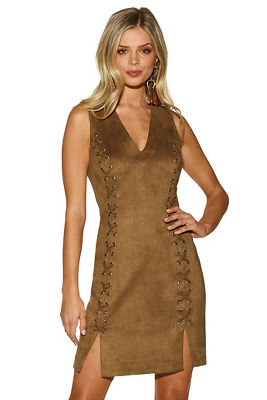 Display product reviews for Lace-up vegan suede dress