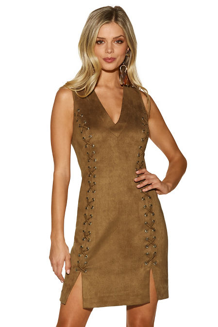 Lace-up vegan suede dress image