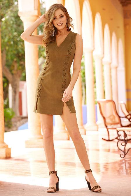 Lace-up vegan suede dress image
