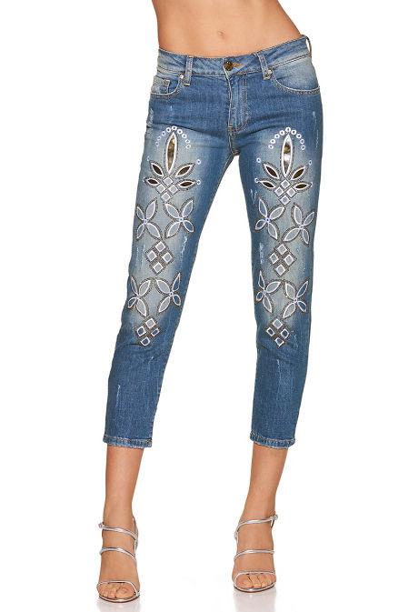 Metallic cropped jean image