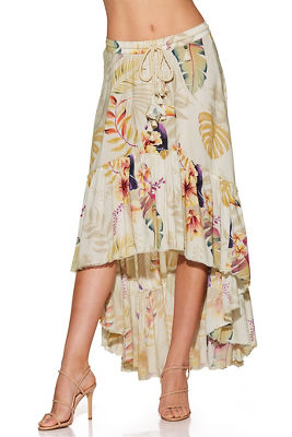 Paradise print hi-lo maxi skirt