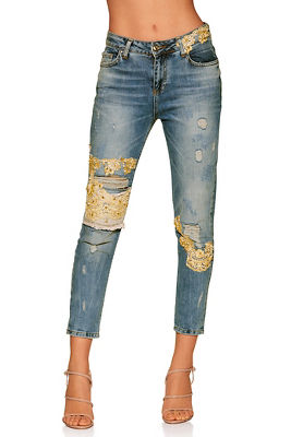 Pearl and lace skinny jean