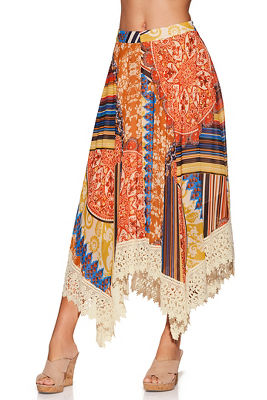 print boho lace midi skirt