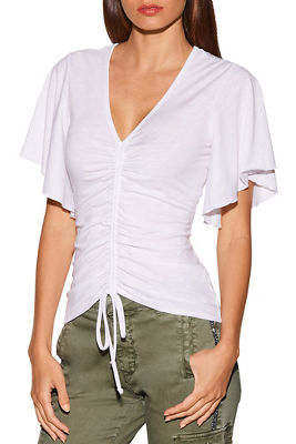 Ruched slub flutter-sleeve top