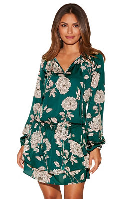 Ruffle floral blouson dress
