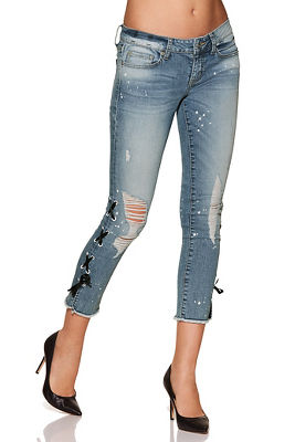 side lace destructed cropped jean