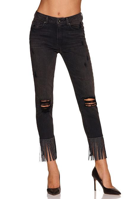 Studded fringe distressed jean image