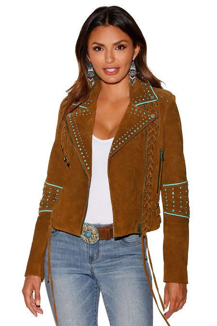 Suede lace-up moto jacket image