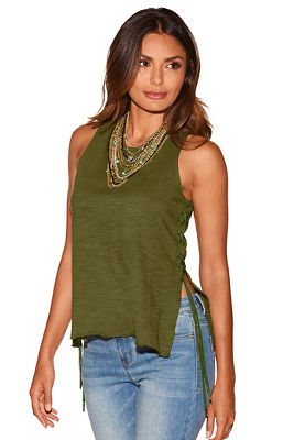 Display product reviews for Lace-up grommet slub tank top