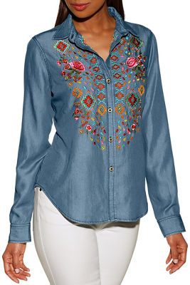 Display product reviews for Embroidered denim button-up shirt