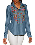 Embroidered Denim Button-up Shirt Photo