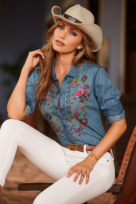 Embroidered denim button-up shirt image