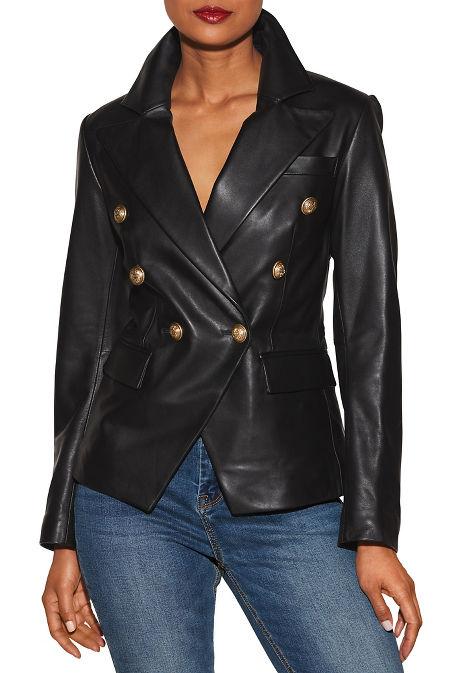 Double-breasted leather jacket image