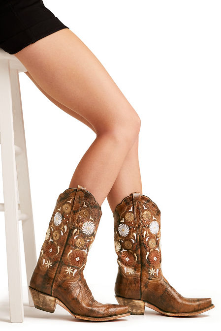 floral embroidered cowboy boot image