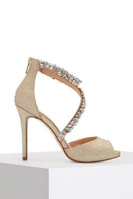 Crystal strap heel