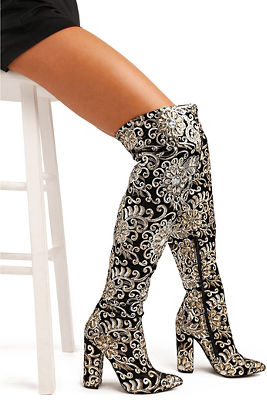 Sequin embellished over-the-knee boot
