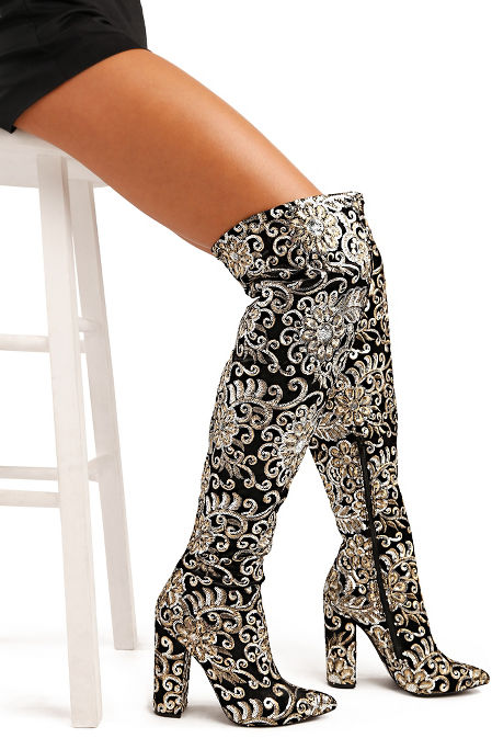 Sequin embellished over-the-knee boot image