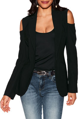 Display product reviews for beyond travel cold shoulder blazer