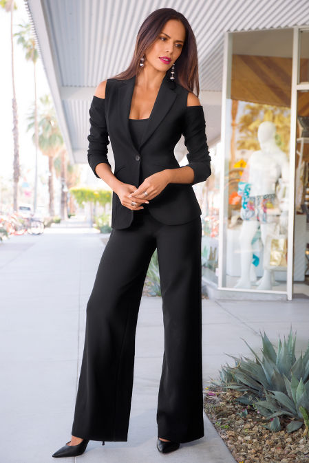 beyond travel cold shoulder blazer image