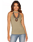 Embellished Mesh Neckline Tank Top Photo