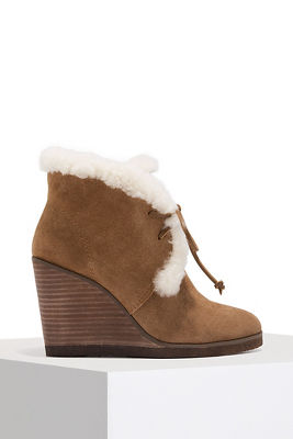 Faux fur wedge bootie