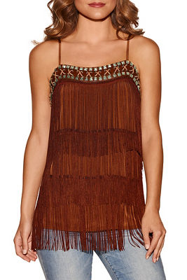 Fringe embellished tank top