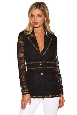lace and grommet blazer