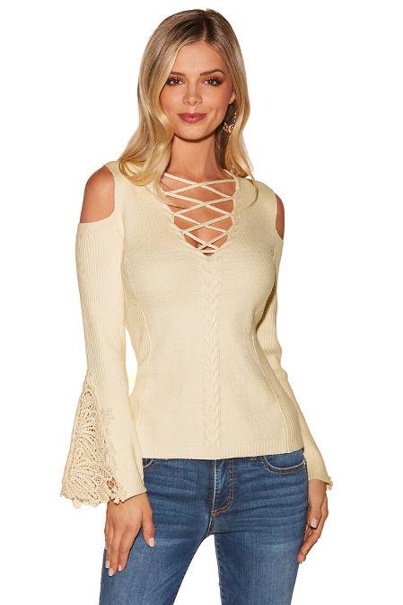 Lace detail cold shoulder lace-up sweater image
