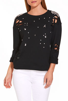 Distressed embellished sweatshirt