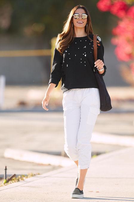 Distressed embellished sweatshirt image