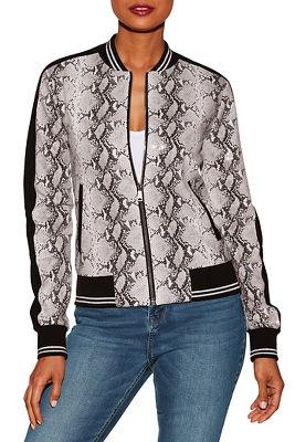 Sequin python bomber jacket
