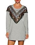 Western Embroidered Sweatshirt Dress Photo
