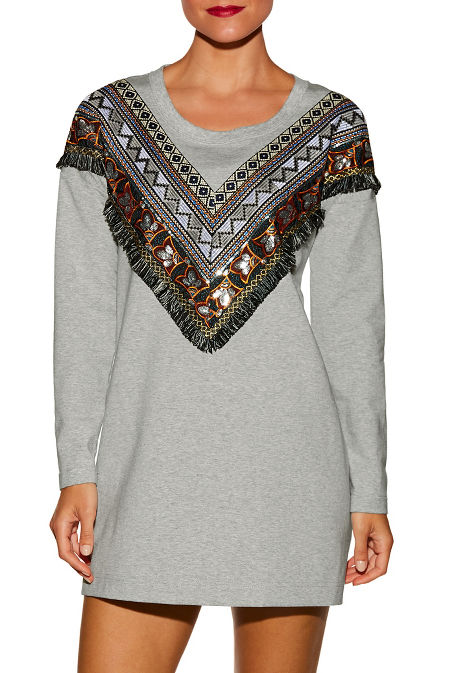 Western embroidered sweatshirt dress image
