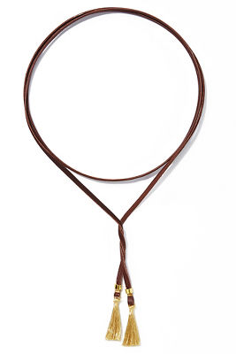 leather wrap tassel necklace